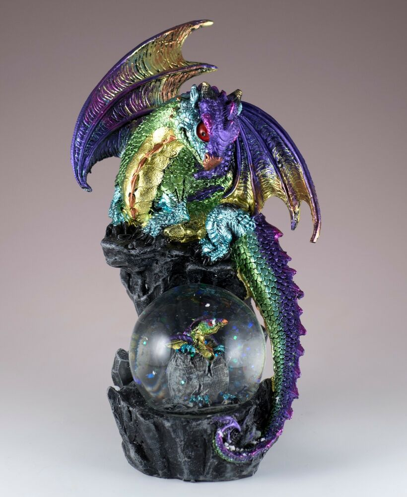 Multicolored Dragon On Rock Figurine With Snow Globe 7.75 ...