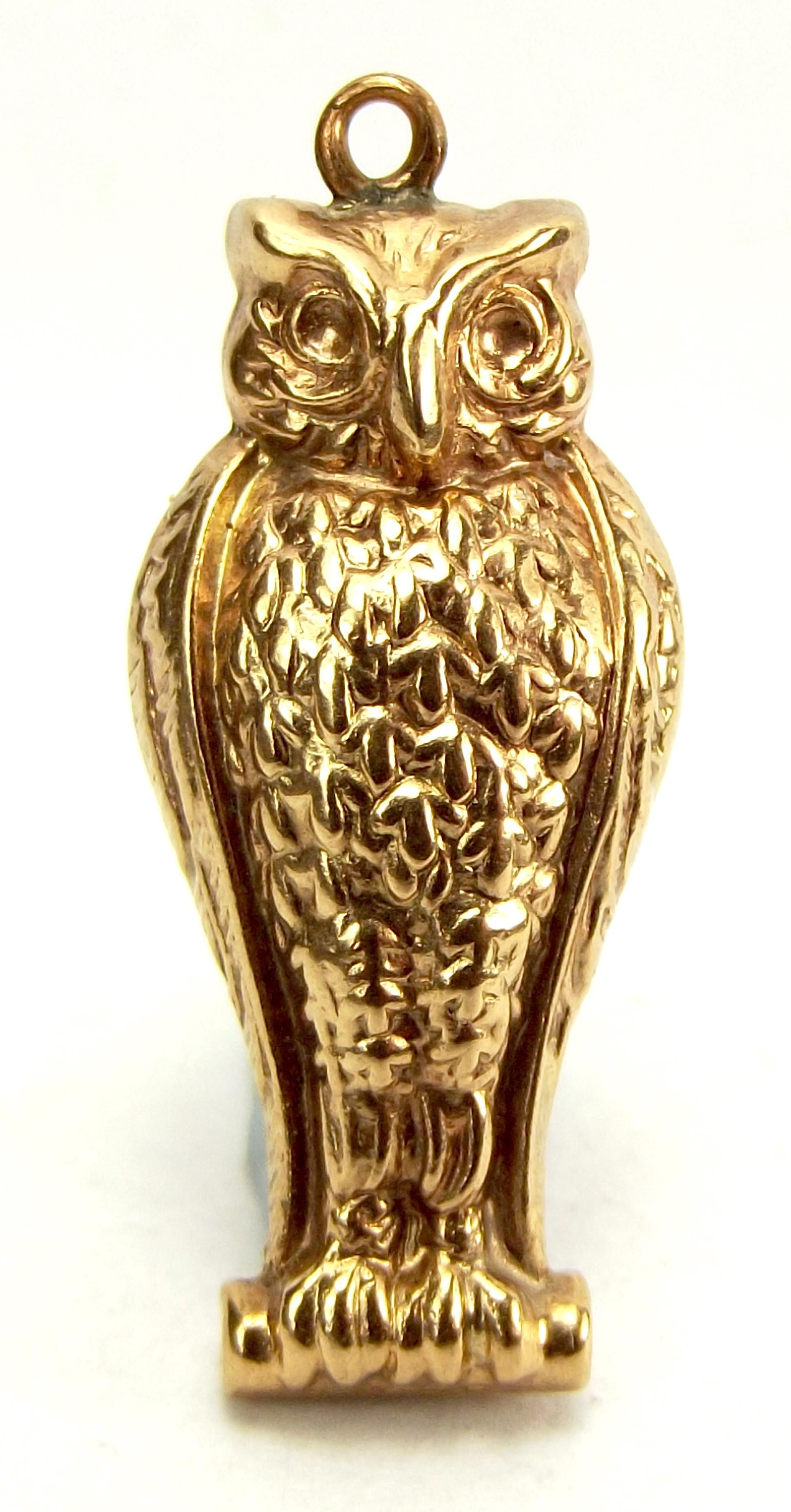 Vintage English 9ct Gold OWL Charm Pendant Hmk Chester 1961 from m4gso on Ruby Lane