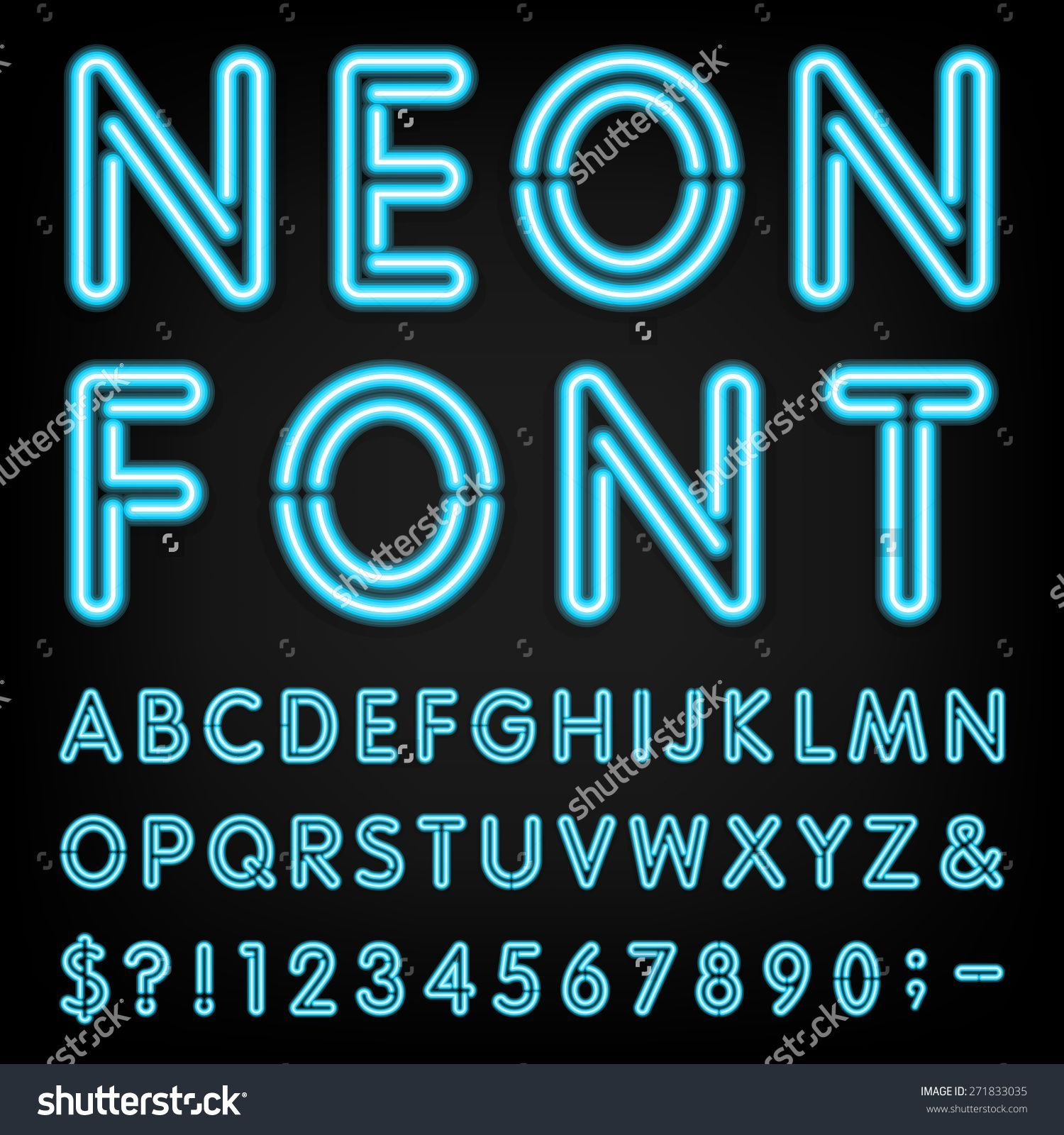 Neon font generator shutterstock chalkboard neon fonts type letters numbers and punctuation marks neon tube letters on dark background buy this stock vector on shutterstock find other images biocorpaavc Image collections
