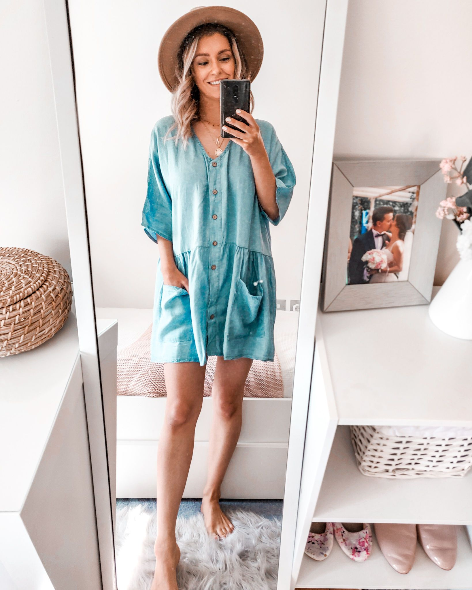 Spring Outfit Ideas Denim Chambray Dress | Boohoo Haul