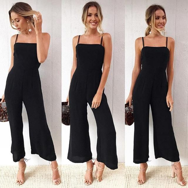 Strap Floral Printed Jumpsuit Casual Beach Party Full Length Long Overalls Summer Off Shoulder Rompers #casualjumpsuit