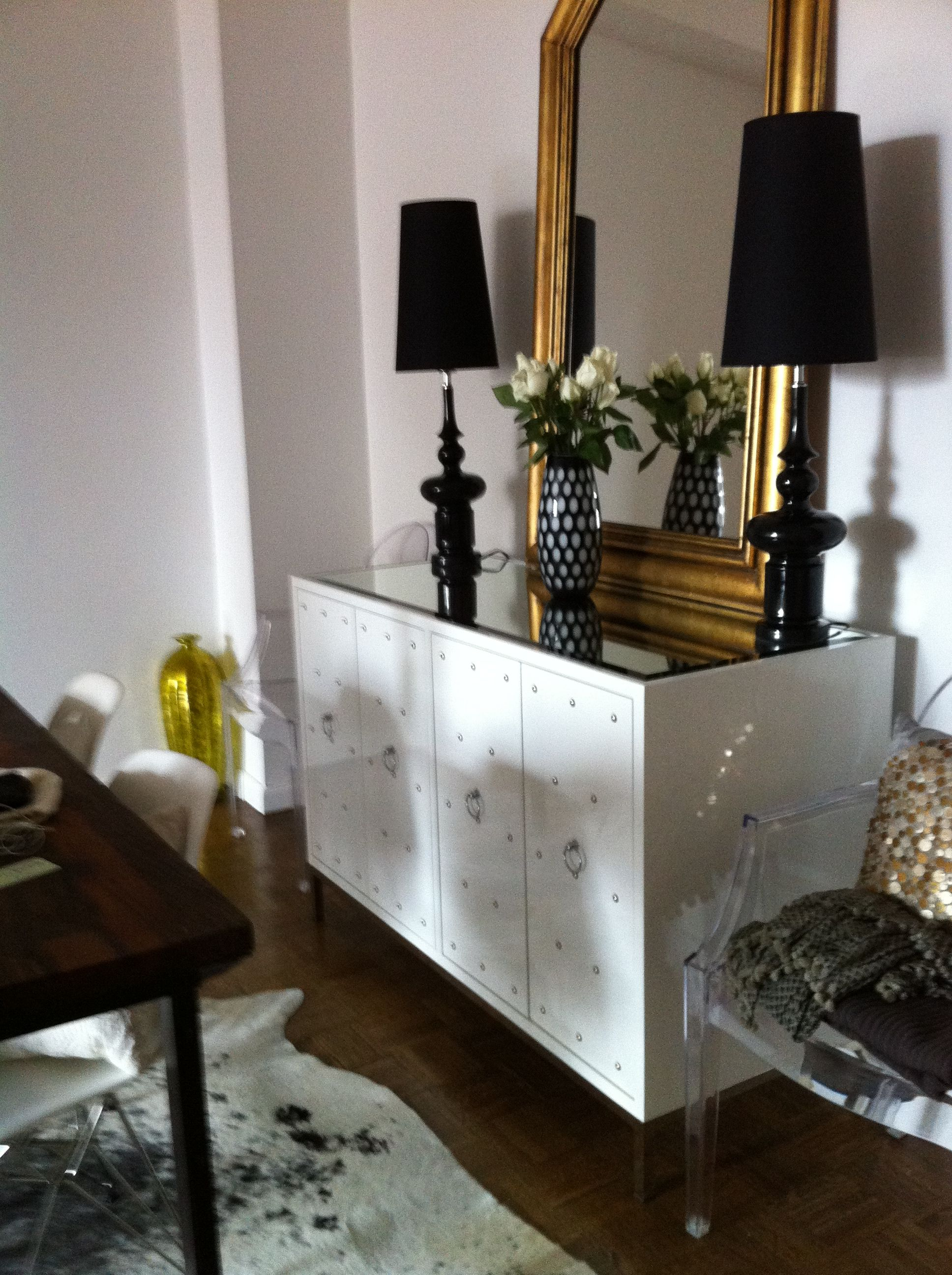 My Dining Room Worlds Away Sideboard Service LA Lamps Vintage Mirror
