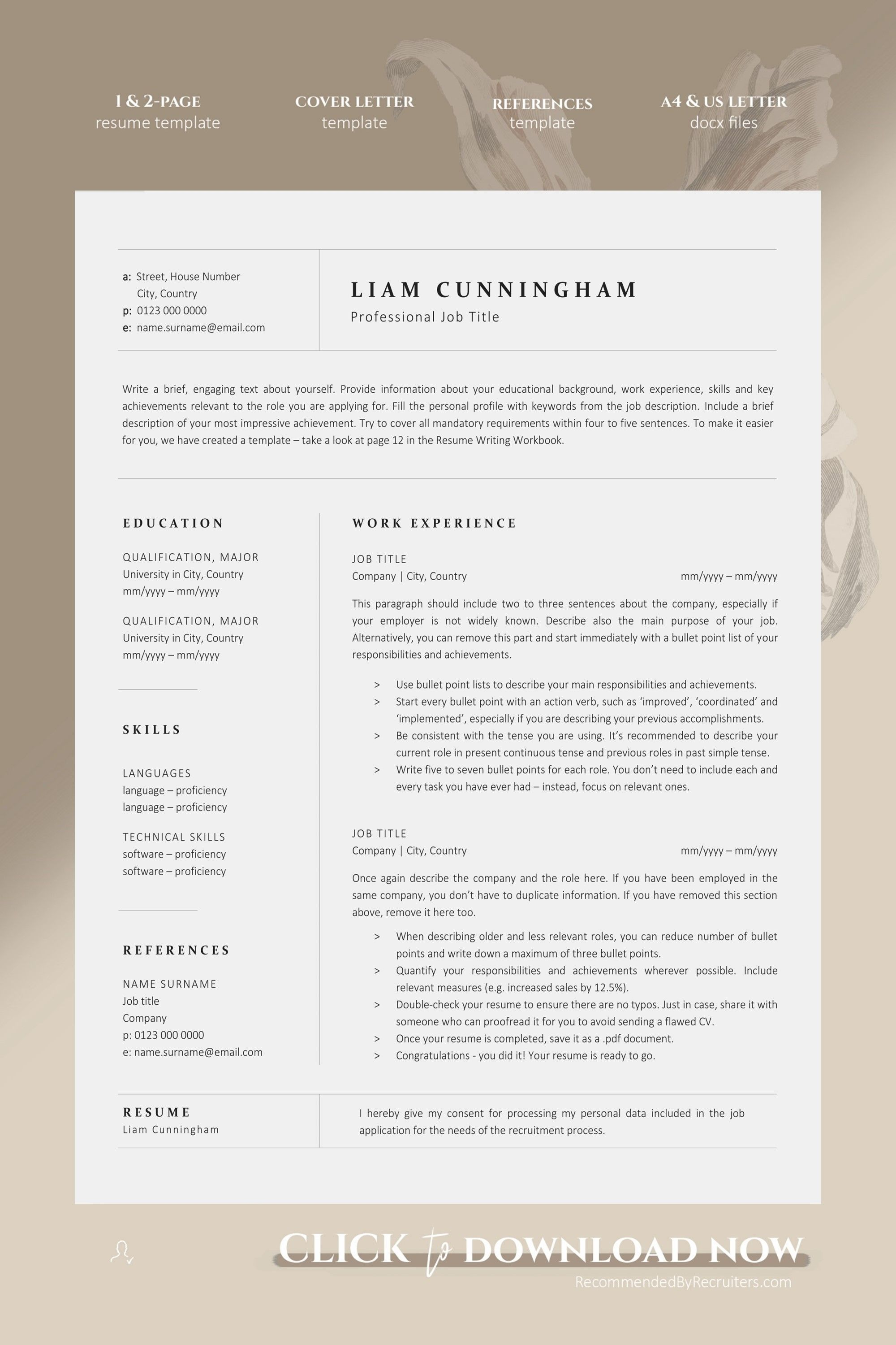 Clean Resume And Cover Letter Template Instant Download Etsy Job Resume Examples Resume Template Minimalist Resume