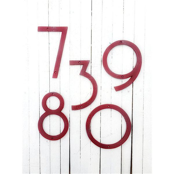 Large Numbers Modern House Numbers Mid Century Modern Iron Decor Bers... ($20) ❤ liked on Polyvore featuring home, outdoors, outdoor decor, home & living, home décor, wall décor, white, outdoor patio decor, cast iron garden decor and outdoor garden decor