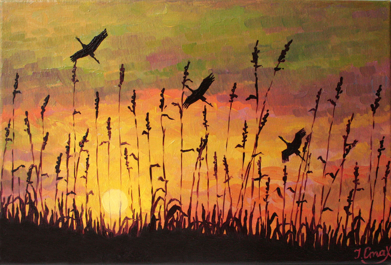 Nature Oil Painting Original Oil Painting Sunset Sunrise Birds Landscape Small Format Art Miniature Gift Nature Art Painting Oil Painting Nature Painting