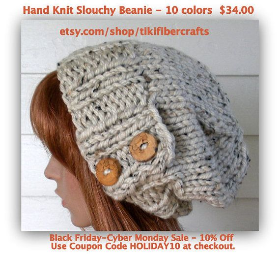 CYBER MONDAY Woman's Slouch Hat Knit Christmas by TikiFiberCrafts, $34.00
