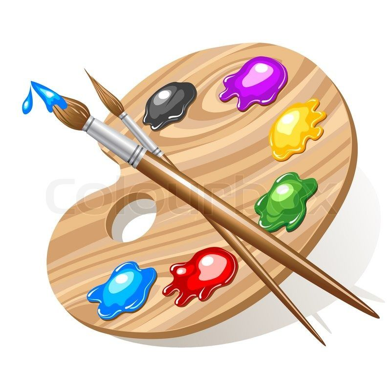 Wooden Art Palette With Paints And Brushes Vector Colourbox Wooden Art Pallet Painting Art