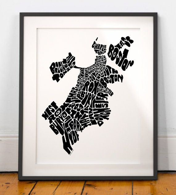Boston Wall Art boston typography map boston art print boston mapjoebstudio