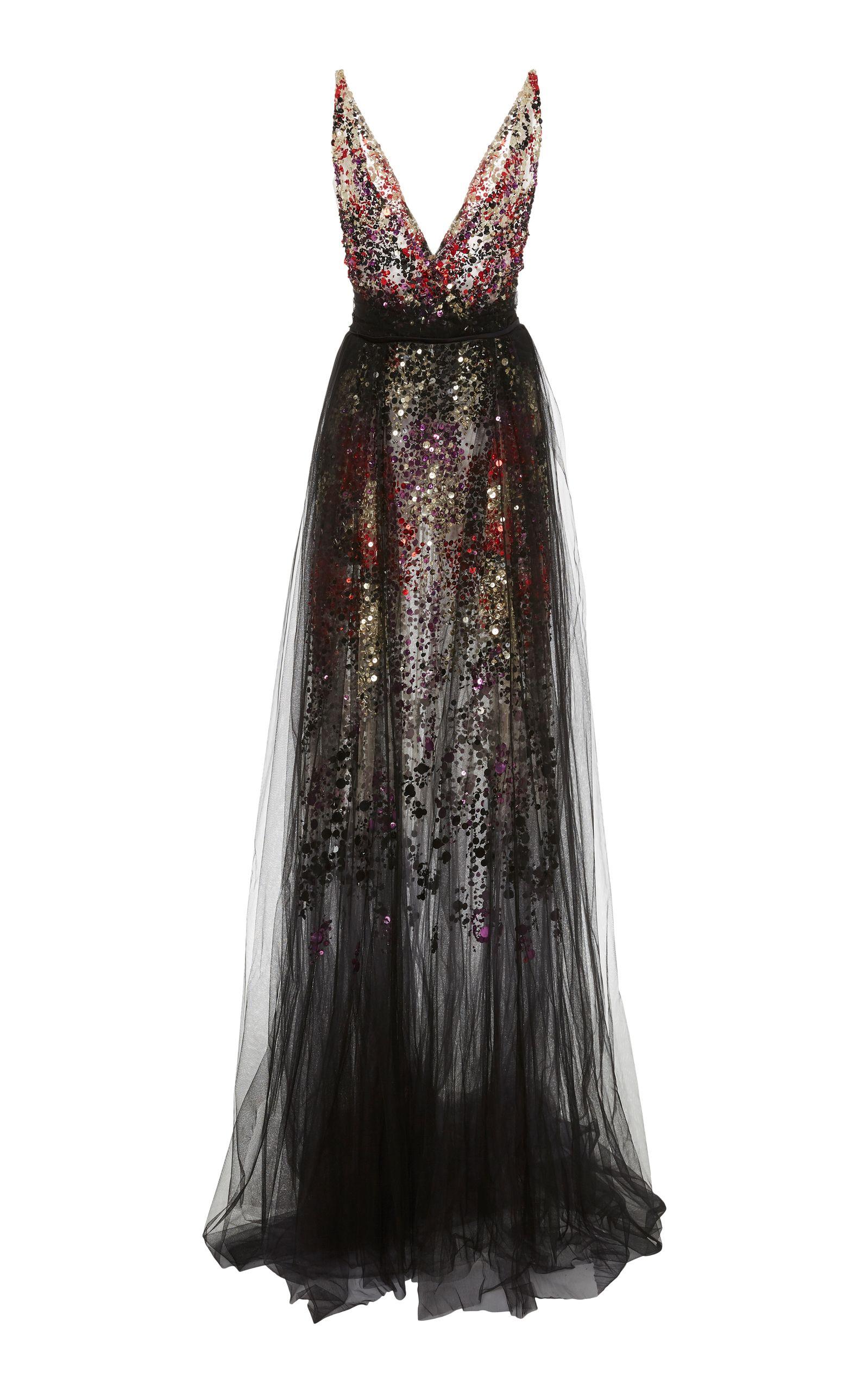 ccc8c4ae410 Black Multi Confetti Gown by PAMELLA ROLAND for Preorder on Moda Operandi