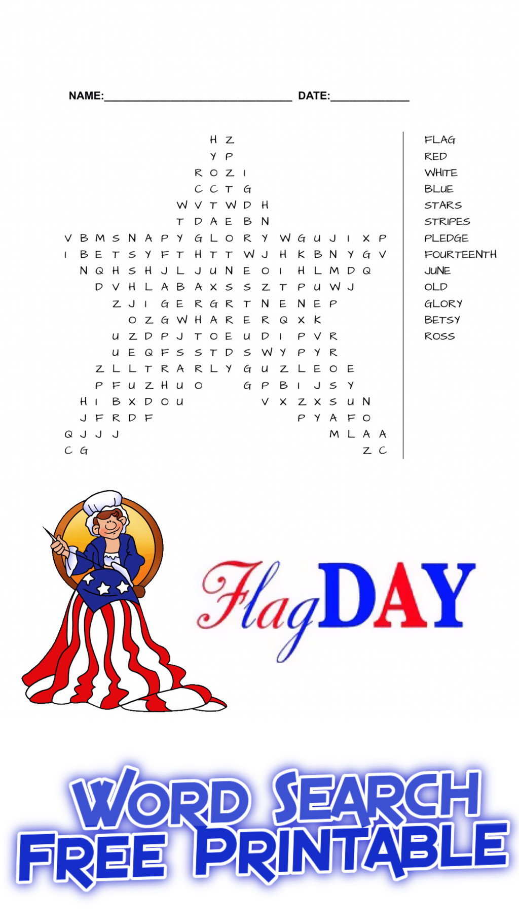 Flag Day Word Search Free Printable Free Printables Free Educational Printables Educational Printables