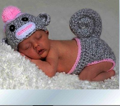 Baby girl monkey outfit  /  Infant Knitted crocheted baby outfit fits 3m-6m for photo shoots on Etsy, $35.00