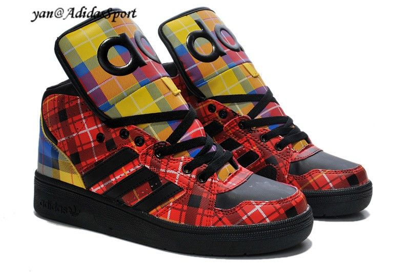 pretty nice 396c5 39530 Adidas Originals Jeremy Scott Instinct high Tops shoes black red Plaid  colour by HOT SALE! HOT PRICE!