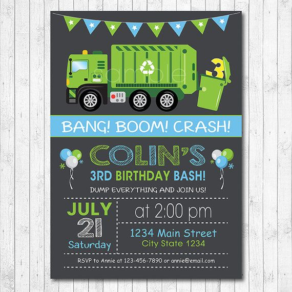 Garbage truck birthday invitation garbage truck birthday invite garbage truck birthday invitation garbage truck by funkymushrooms filmwisefo Image collections