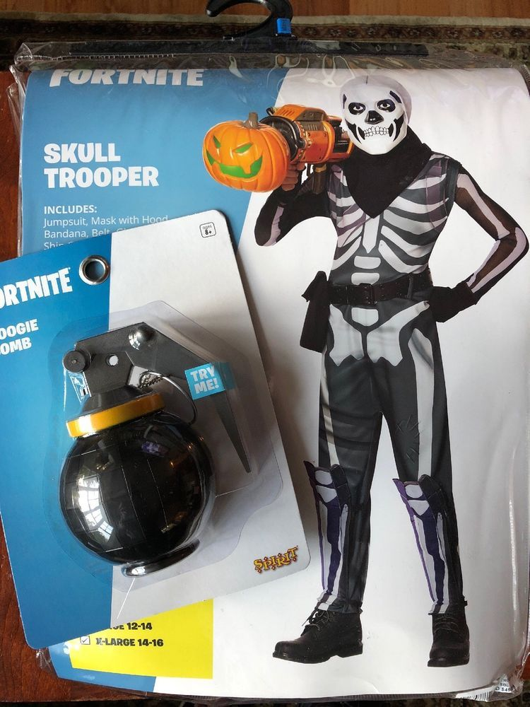 Fortnite Skull Trooper Kids Xl 14 16 W Boogie Bomb Spirit Costume