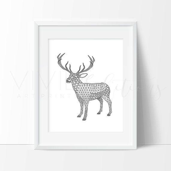 Geometric deer print monochrome geometric art by vivideditions