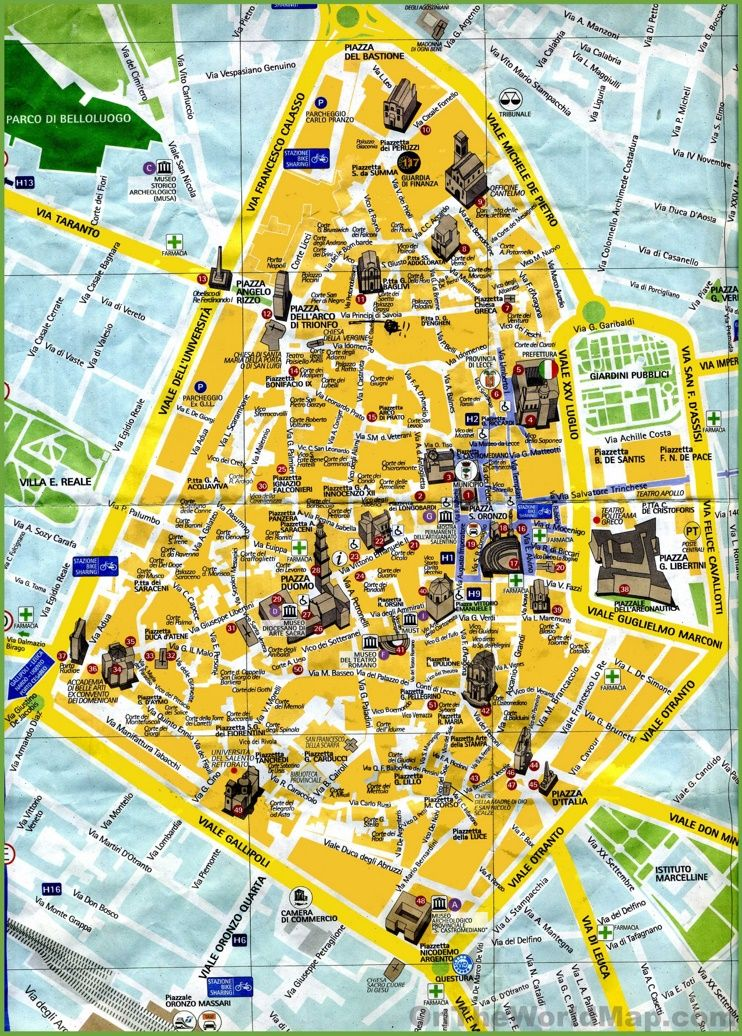 Lecce tourist map Maps Pinterest Tourist map Italy and City