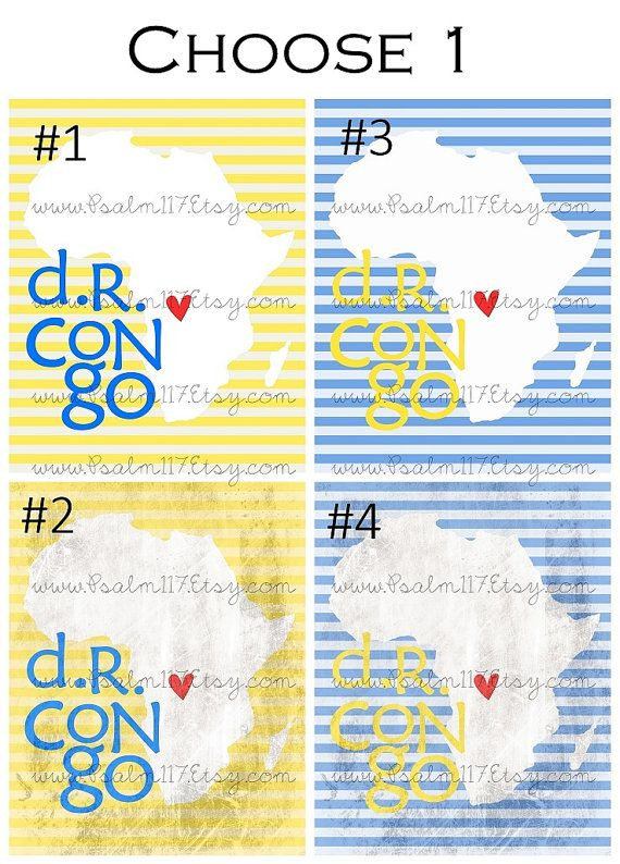 DR Congo Africa Silhouette - PDF printable - I Heart Love DR Congo Africa - Choose 1 color $5