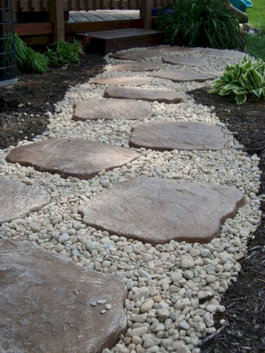 Large Gravel With Stepping Stones Rock Walkway Front Yard