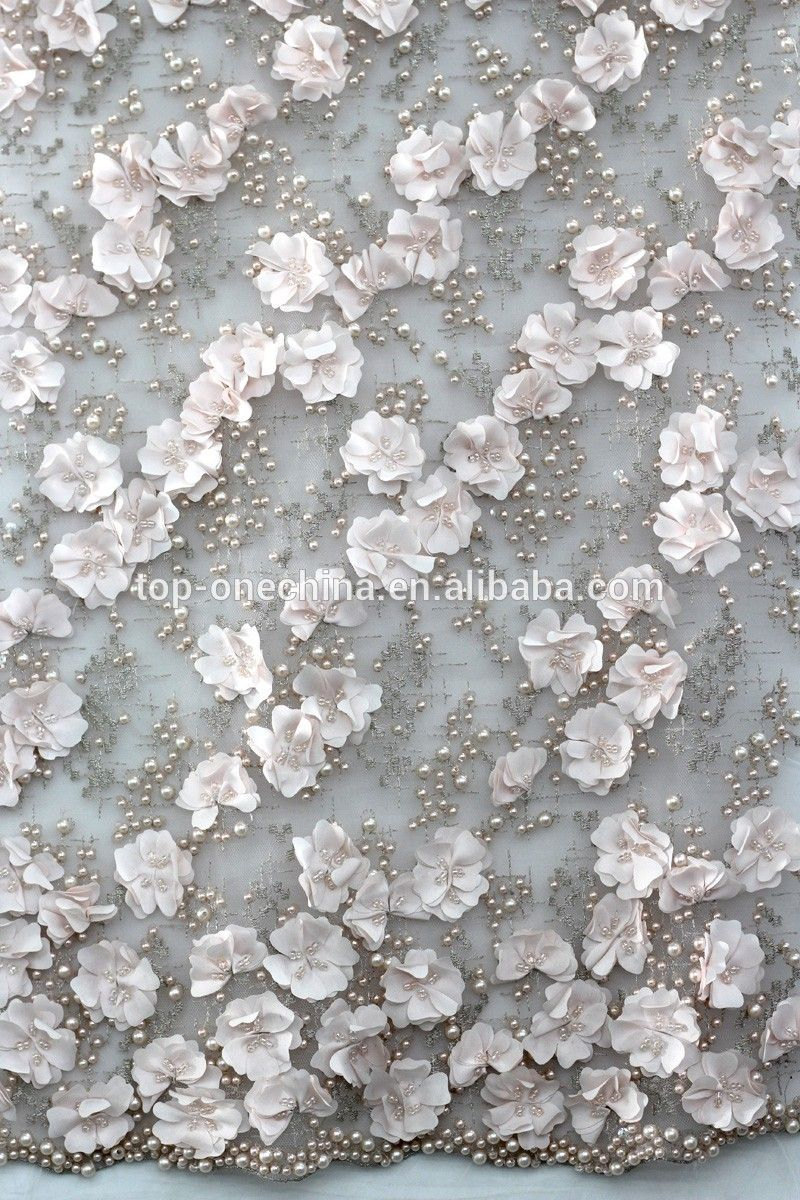 Textile d flower lace embroidered fabric bead