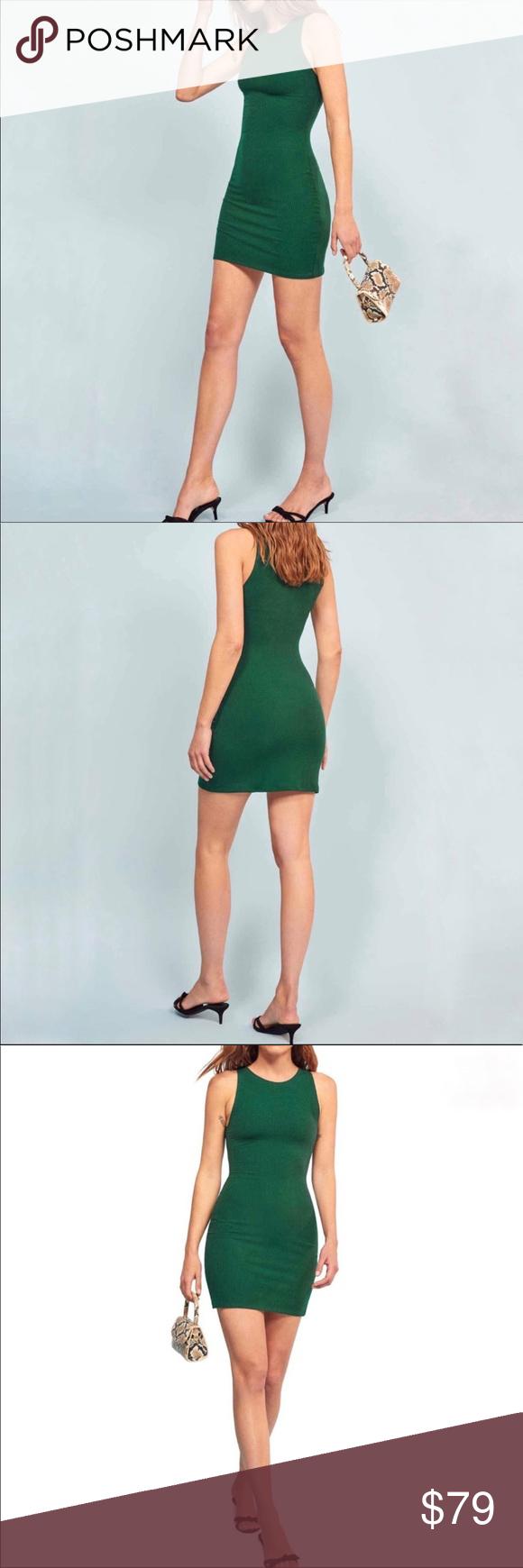 Nwt Reformation Kris Body Con Dress Emerald L Bodycon Dress Clothes Design High Neck Sleeveless [ 1740 x 580 Pixel ]