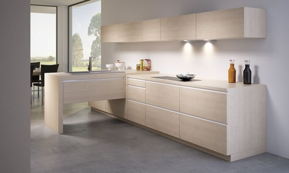 cusine avec sol gris meubles bois clair sans poign es cuisine schmidt kitchen pinterest. Black Bedroom Furniture Sets. Home Design Ideas