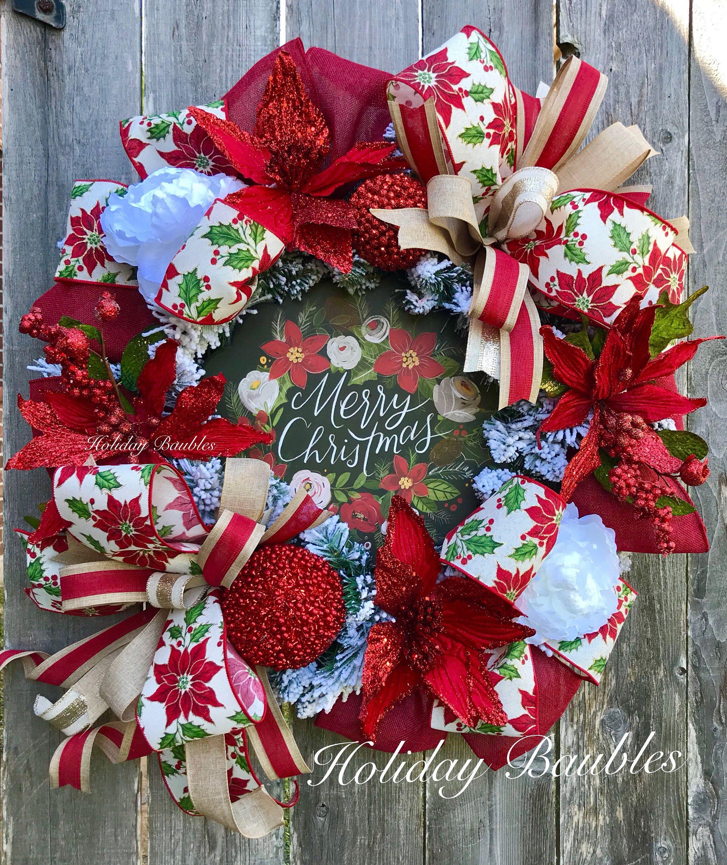 merry christmas wreath christmas wreath poinsettia wreath winter christmas wreath christmas decor