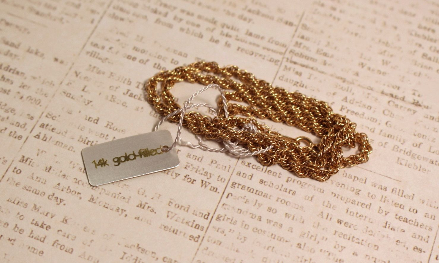 Avon 20 14K Gold Filled Rope Chain Vintage 1984 by FrogTears on