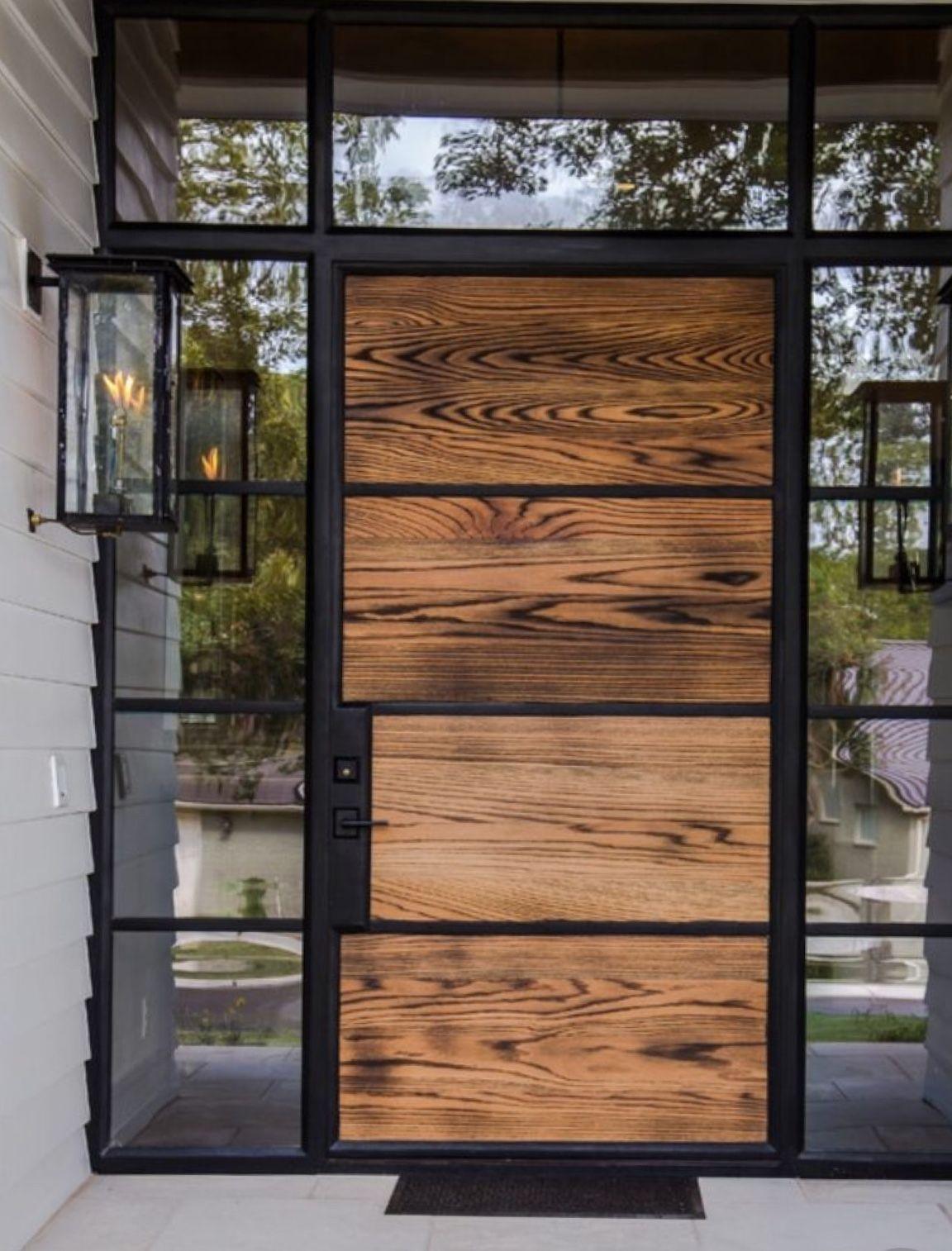 Modern House Exterior Design Front Door Ideas Wood Facade Wooden Garage Door: Wood, Modern, 60's Line, Exterior Front Door, Iron Frame. Entryway. Glass.
