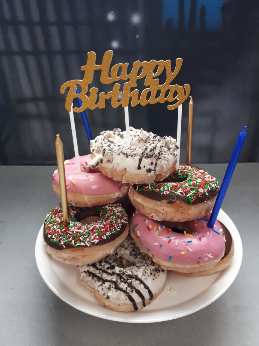 Cool Donut Tower Birthday Cake Birthday Donuts Donut Birthday Cake Funny Birthday Cards Online Elaedamsfinfo