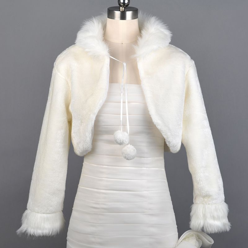 Ivory Faux Fur Long Sleeved Bridal Jacket Category:Bolero JacketsOccasion:WeddingSeason:WinterSleeve Style:Long SleeveShoulder:39Shoulder to Bottom:17Sleeve:47Armhole:46Bust:96 Only $13.49 USD