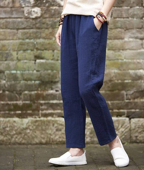 b0b1571b7f6b51 Cotton linen casual small pants – new cotton and linen women's nine pant  cropped and capri pant