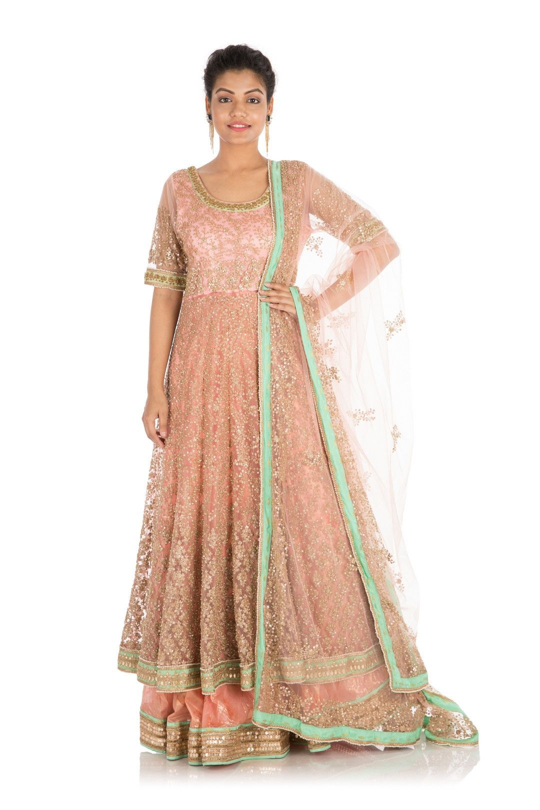 76404a858a1f35 Full Hand Embroidered Pretty Peach Jacket Lehenga Set
