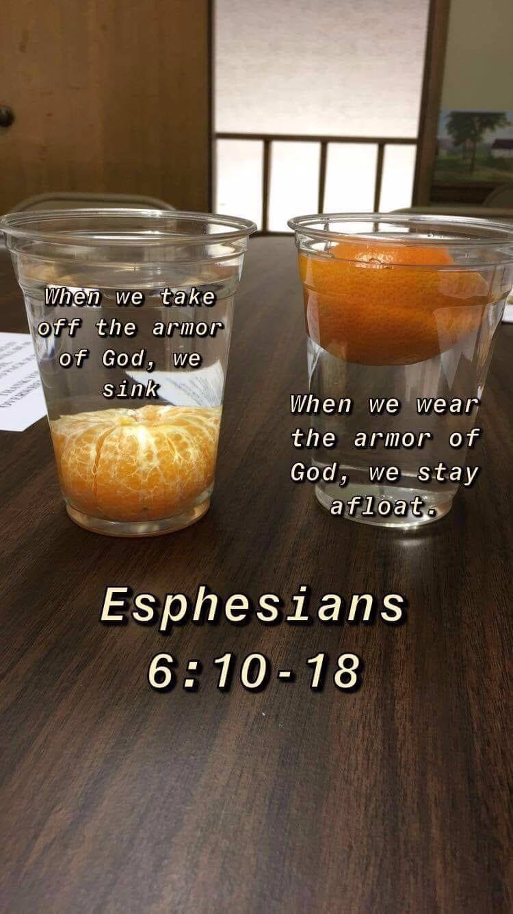 Armor of God analogy using an orange and a cup of
