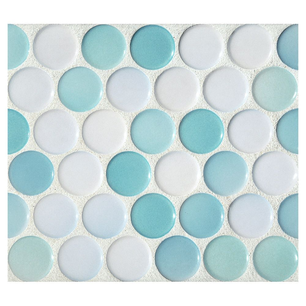 Complete Tile Collection Penny Round Mosaic - Fresno Blue Blend ...