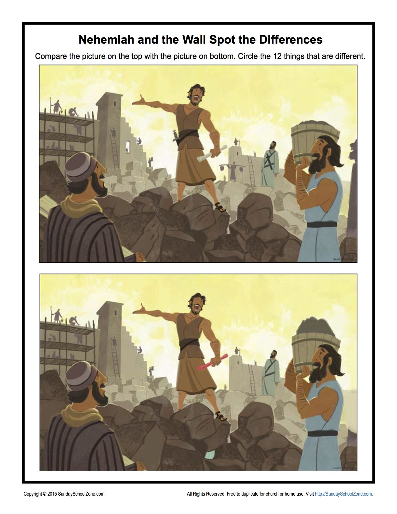 Nehemiah And The Wall Spot The Difference