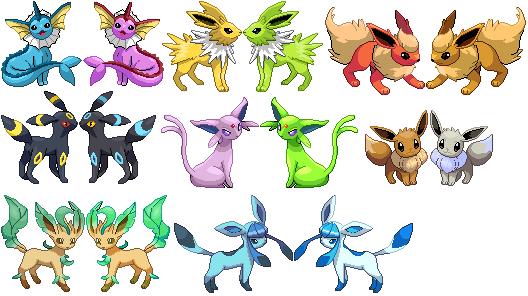 Pokemon shiny eevee evolutions google search also pinterest rh