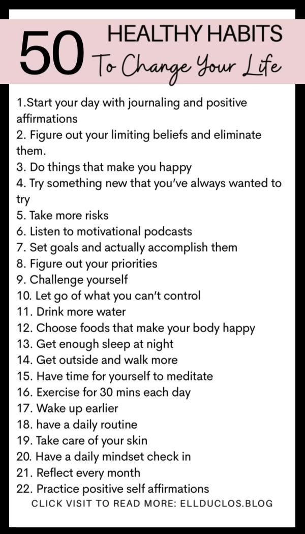 50 healthy habits for 2021