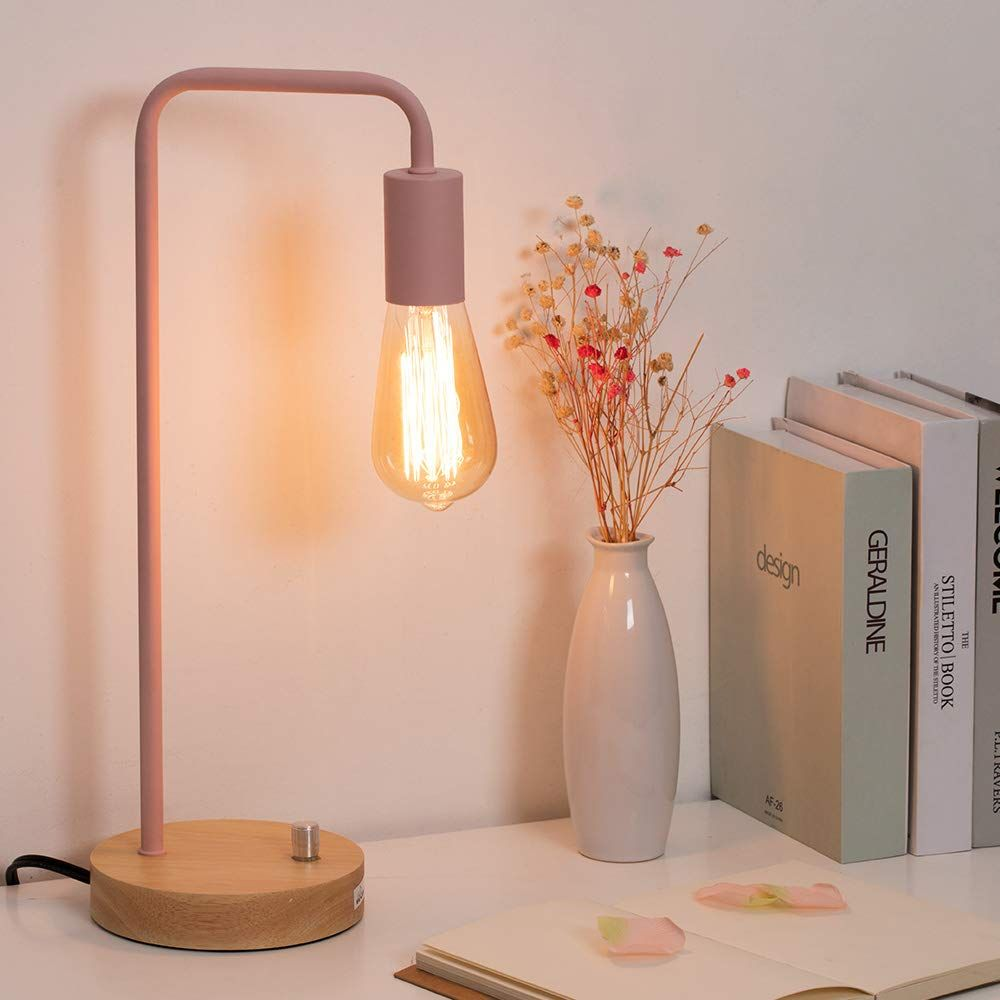 Haitral Industrial Desk Lamp Pink Table Lamp With Wooden Base Minimalist Bedside Lamp For Girl Room In 2020 Table Lamps For Bedroom Desk Lamp Design Side Table Lamps