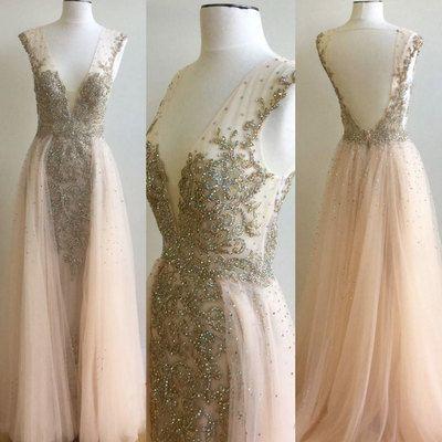 Lovely Pink v neck tulle sequin beaded long prom dress, tulle evening dress