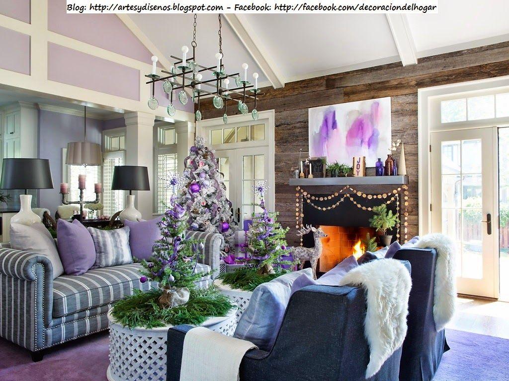 decorar la casa para navidad con tonos lila violeta