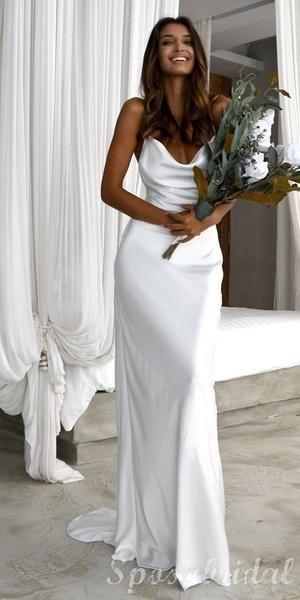 Photo of Spaghetti Straps Unique Design Elegant Simple High Quality Long Prom Dresses, Beach Wedding Dresses, PD1396