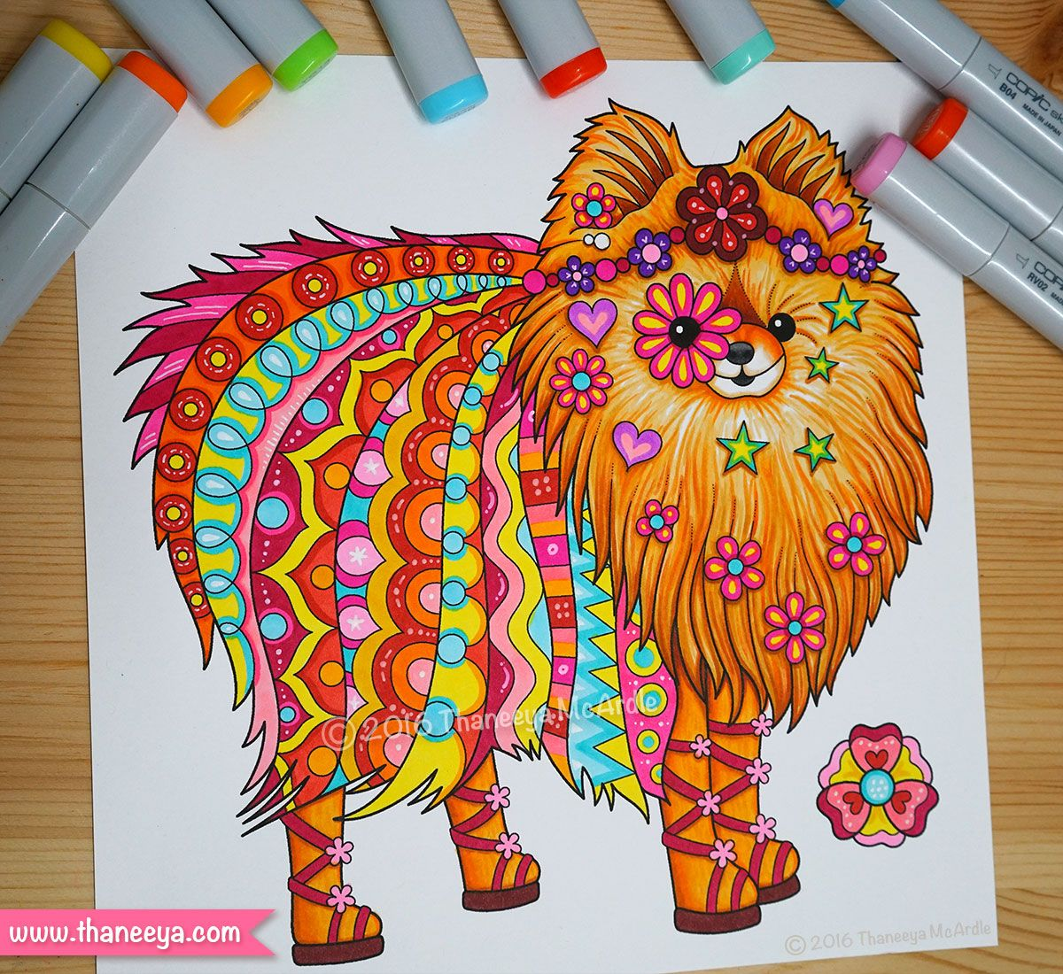 Pomeranian Coloring Page From Thaneeya McArdles Hippie Animals Book