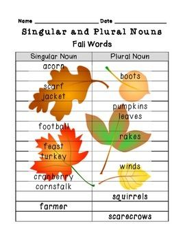 Review basic singular and plural nouns throughout the year!Find either the singular noun or the plural noun of given words for the seasons; fall, winter, spring, and summer.** images appear darker in thumbnail than they actually are - images are watermarks and will not show up dark when photocopying or displaying on whiteboard ***Preview includes fall nouns only - purchase for all four seasons