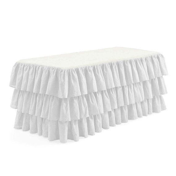 White Ruffled Fitted Tablecloth By LovelyDecor On Etsy, $149.75