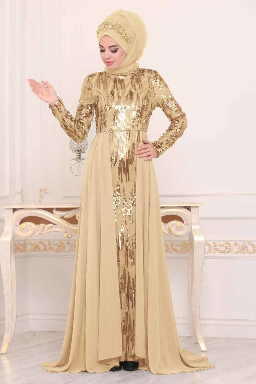 Tesetturlu Abiye Elbise Tesetturlu Abiye Elbise Pul Payetli Gold Tesettur Abiye Elbise 9111gold Formal Dresses Long Formal Dresses Fashion