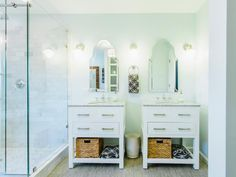 This Bathroom Features Two Single Vanities Placed Side By Side To