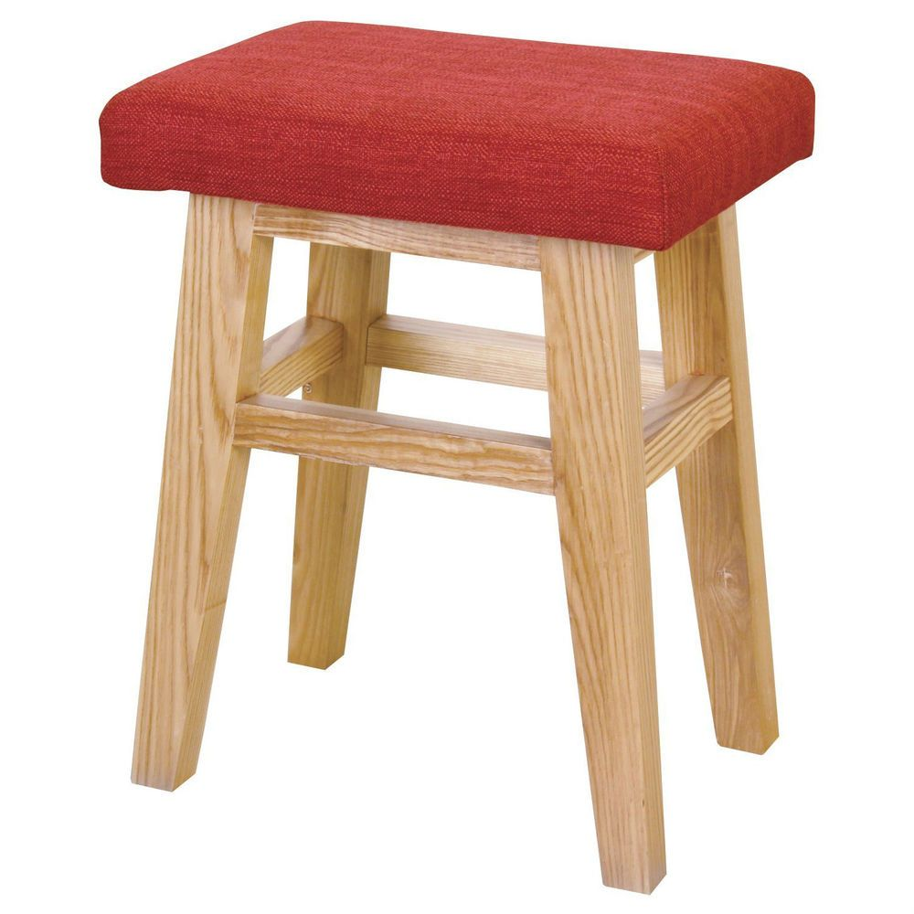 Wood Stool Vanity Red Low Chair Wooden Fabric Seat Compact