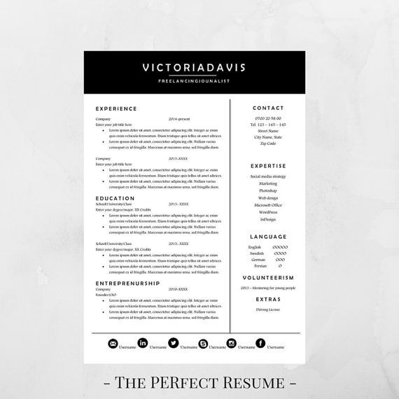 Resume Template 4 Pages Resume for Word Instant Download - m w resume