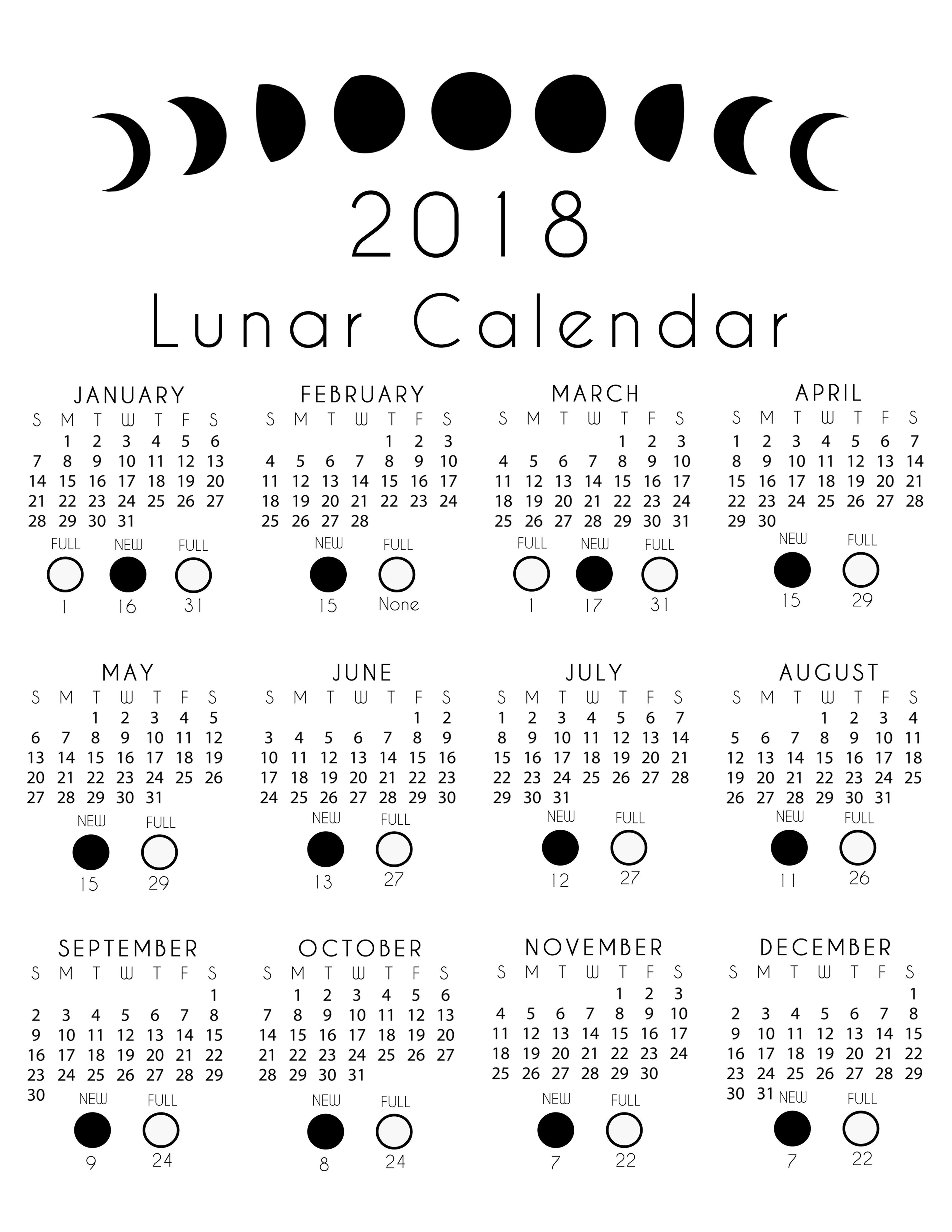 Lunar Calendar Free Printout With Images