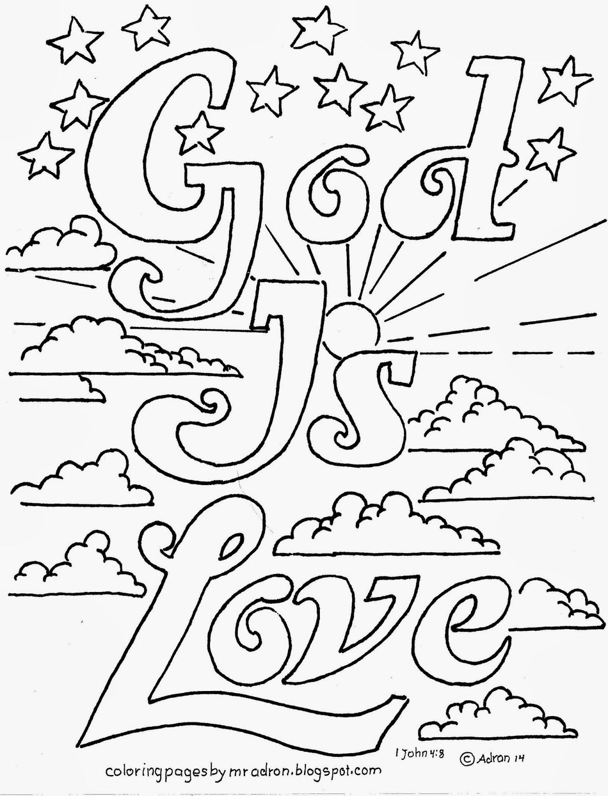 Coloring Pages For Kids By Mr Adron Is Love Printable Kid S Page 1 John 4 8